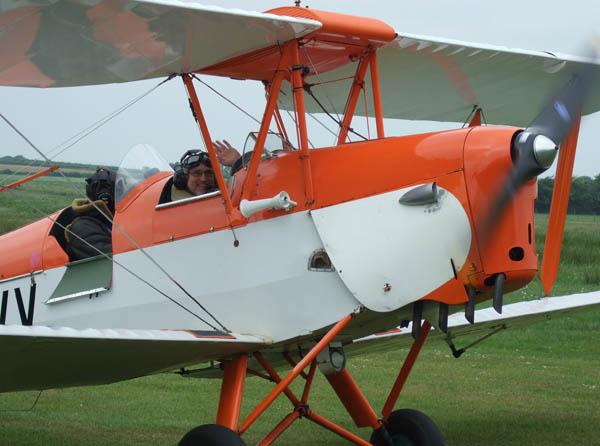Biggles lands the Tiger Moth
